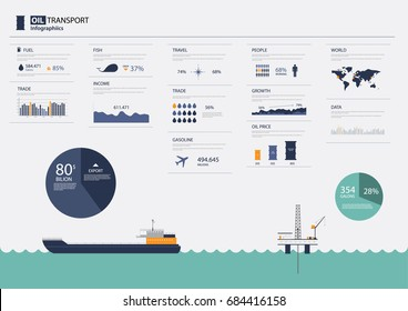 Oil Transport Infographic. Vector ilustration