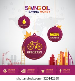 Oil Vector Concept Saving Oil Saving Money