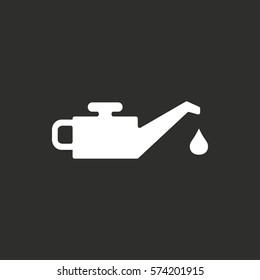Oil vector icon. White illustration isolated on black background for graphic and web design.