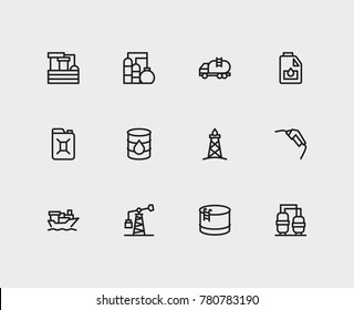 Oil warehouse and gas icons set with tanker ship, oil gas industry and oil water factory. Set of gas icons including filtration sign for your web app logo UI design.