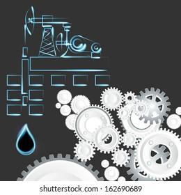 oil, oil well, cogwheel
