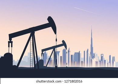 Oil well pumpjack with abstract skyline of Dubai on background. Skyline of a large metropolis city in evening light. Influence of oil industry on global economics and country's development. Vector