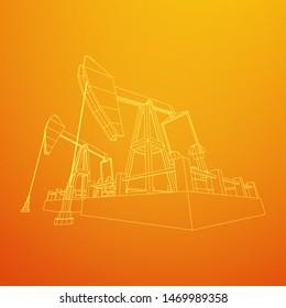 Oil well rig jack. Finance economy polygonal petrol production. Petroleum fuel industry pumpjack derricks pumping drilling. Wireframe vector illustration