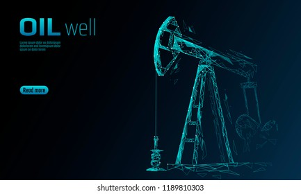Oil well rig juck low poly business concept. Finance economy polygonal petrol production. Petroleum fuel industry pumpjack derricks pumping drilling point line connection dots blue vector illustration