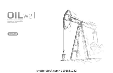 Oil well rig juck low poly business concept. Finance economy polygonal petrol production. Petroleum fuel industry pumpjack derricks drilling point line connection dots white vector illustration
