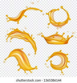 Oil yellow splashes. Golden liquids and drops vector realistic template. Oil liquid, splash drop flowing, wave transparent amber flow illustration