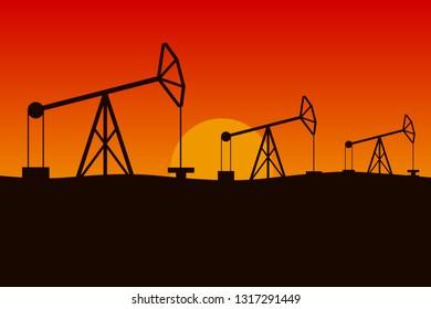 Oilfield in desert. Pumpjacks in a row. Vector illustration.