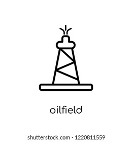 oilfield icon. Trendy modern flat linear vector oilfield icon on white background from thin line collection, outline vector illustration