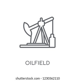 Oilfield linear icon. Modern outline Oilfield logo concept on white background from Industry collection. Suitable for use on web apps, mobile apps and print media.