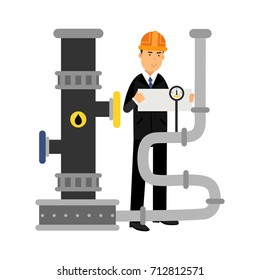 Oilman engineer character controlling gauges on an oil pipeline, oil industry production vector Illustration