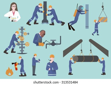 oilman, gasman or oil and gas industry worker on production vector illustration