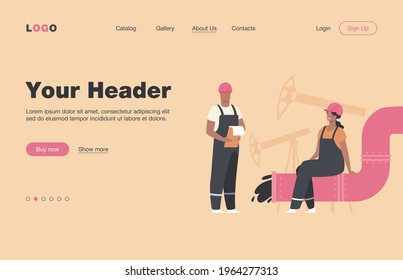 Oilmen and engineers on production line or pipe of petroleum refinery flat vector illustration. Cartoon people working on pipeline. Oil and gas industry concept