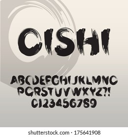 Oishi, Abstract Japanese Brush Font and Numbers, Eps 10 Vector Editable