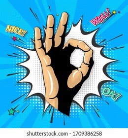 Ok abstract pop art vector illustration.  Funny graphic design concept of okay gesture on cloud bubble in retro vintage comic style. Digital art of hand sign on topic of social communication