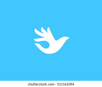 Ok bird vector logo design. Hand palm wings logotype. Fingers dove okay trick negative space idea sine symbol.