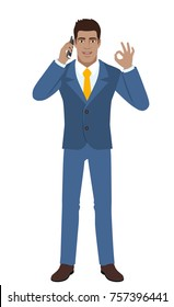OK! Businessman talking on the mobile phone and showing a okay hand sign. Full length portrait of Black Business Man in a flat style. Vector illustration.