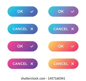 ok cancel web buttons set. filled ui web buttons in flat style. rounded vector buttons on trendy gradients with symbols for web and ui design