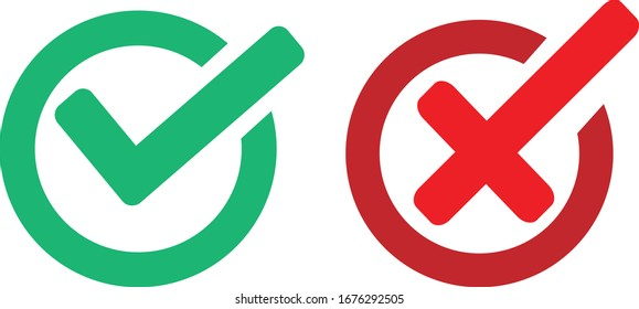 ok check and forbidden or NO sign, vector illustration