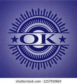OK  emblem with denim texture