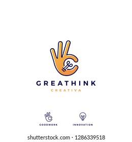 ok hand gesture bulb idea logo vector icon illustration