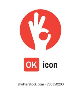 ok hand icon. OK sign vector illustration