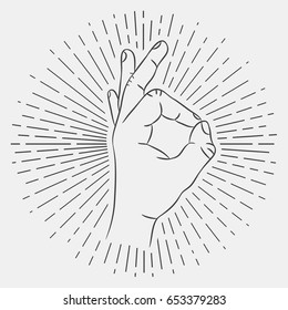 OK hand sign. Okay gesture. Hand-drawing illustration with hipster sunburst. Vector.