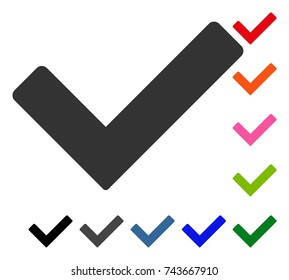Ok icon. Flat grey pictogram symbol in a blue rounded frame. Black, gray, green, blue, red, orange color versions of Ok vector. Designed for web and app UI.