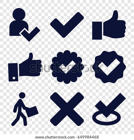 Ok Icons Set Set 9 Ok Stock Vector Royalty Free 649984468