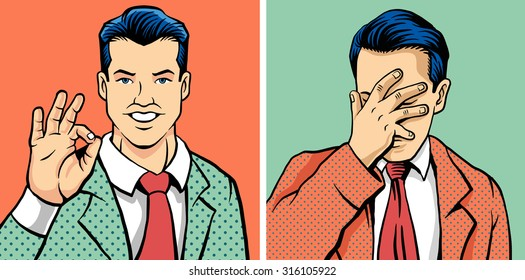 OK man and facepalm man. Vector illustration set