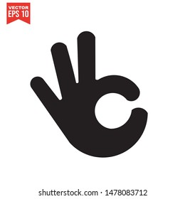 OK / Okay Hand icon template black color editable. Okay Hand  symbol Flat vector sign isolated on white background. Simple logo vector illustration for graphic and web design.