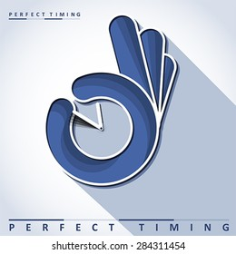Ok sign with clock  - Perfect timing, vector