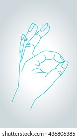OK sign hand gesture. Approval, agreement and all is well gesture symbol in thin line style.