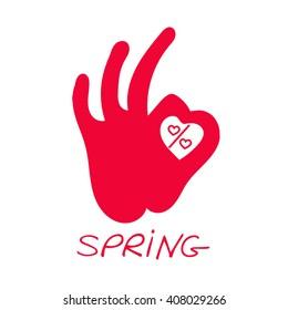 OK Spring. Spring Sale Design. Heart shape design for love symbols.