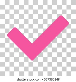 Ok vector pictogram. Illustration style is flat iconic pink symbol on a transparent background.