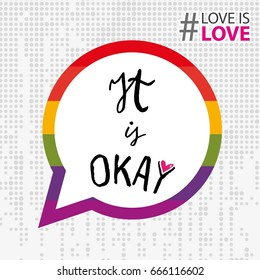 It's okay to be gay dialogue bubble for activism