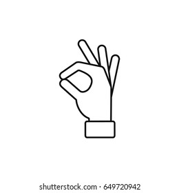 Okay hand outline line icon, Vector ok symbol isolated positive black sign.