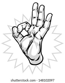 Okay hand sign vector