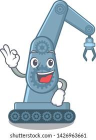 Okay mechatronic robotic arm in mascot shape