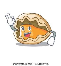 Okay oyster character cartoon style
