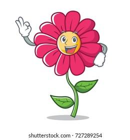 Okay pink flower character cartoon