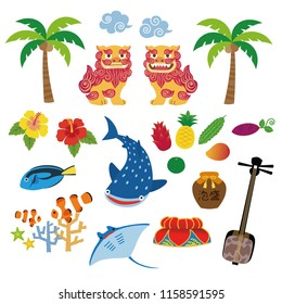 Okinawa illustration with local specialty, Shisa, tropical fruits, whale shark, hibiscus, palm tree, coral, tropical fish, manta ray, sanshin; traditional three-stringed ins