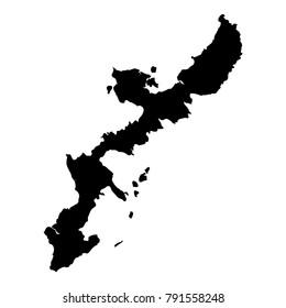 Okinawa Island map. Isolated black island outline. Vector illustration.