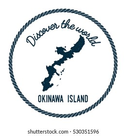 Okinawa Island map in vintage discover the world rubber stamp. Hipster style nautical postage Okinawa Island stamp, with round rope border. Okinawa Island map vector illustration.