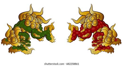 Okinawa Japan lion graphic vector