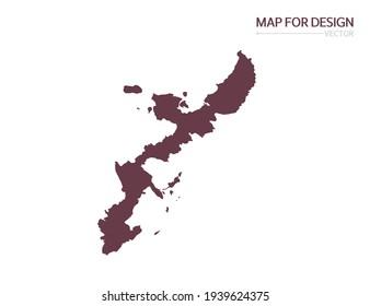 Okinawa map on white background vector illustration.