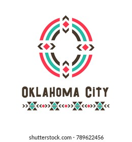 Oklahoma city logo. A good place of ideal perfection, imagined community or society, name of an imaginary country, O letter in ethnic original design. Vector illustration