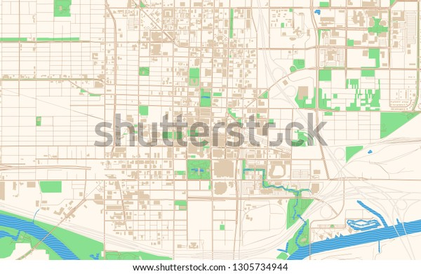 Oklahoma City Oklahoma Printable Map Excerpt Stock Vector