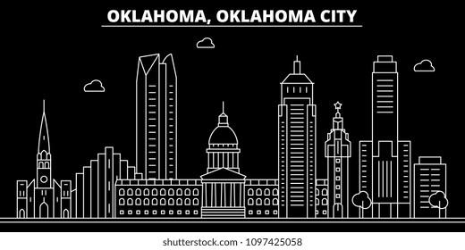 Oklahoma City silhouette skyline. USA - Oklahoma City vector city, american linear architecture, buildings. Oklahoma City travel illustration, outline landmarks. USA flat icon, american line banner
