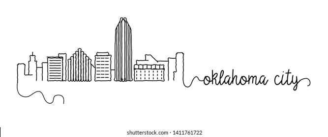 Oklahoma City Skyline Doodle Sign