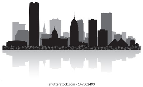 Oklahoma city USA skyline silhouette vector illustration